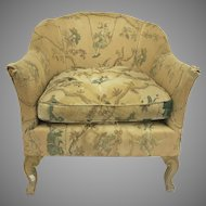 Vintage 1940's Tub Chair Carved Short lLegs