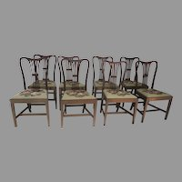 Set of 8 English Mahogany Hepplewhite Dining Chairs