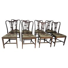 Set of 8 English Mahogany Hepplewhite Dining Chairs