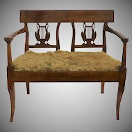 19th Century French Small Fruitwood Window Seat Bench Settee with Drop in Seat Swan Liar Back Splat
