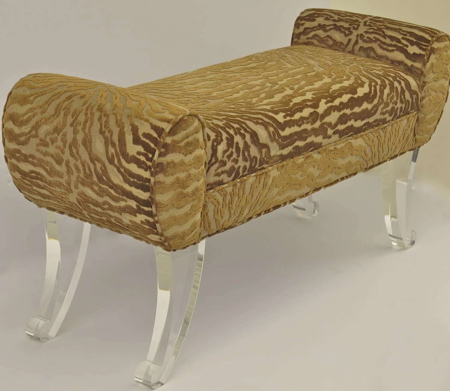 Vintage Upholstered Bench Lucite Legs Black Tulip Antiques Ltd