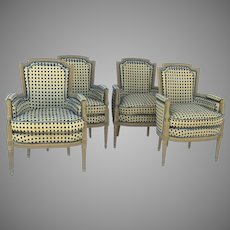 Set of Four Vintage Painted French Provincial Louis XVI Chairs from Yale R. Burge, New York