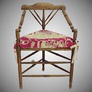 19th Century English Turned Wood & Triangular Corner Rush Seat Chair Custom Cushion Seat Country