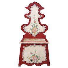 Vintage Italian Painted Hall Seat Chair Bench