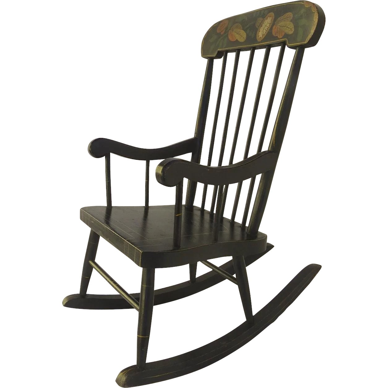 1900 s american painted boston child s rocking chair black tulip