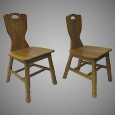 Vintage A. Brandt Ranch Oak Pair Chairs Saguaro Cactus Design Back Western c 1959 Southwestern Western