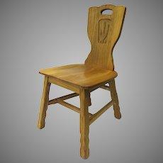 Vintage A. Brandt Ranch Oak Chair Saguaro Cactus Design Back Western c 1959 Southwestern Western