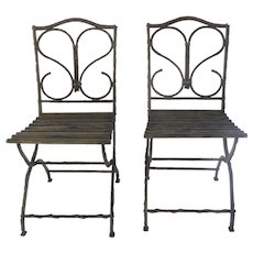 Pair of French Vintage Folding Garden Chairs with Branch Twig Motif