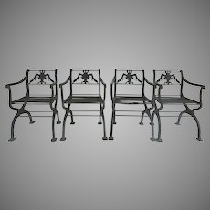 Vintage Garden Arm Chairs Cast Iron Early 1900s Classical Design Urn Motif Set of Four