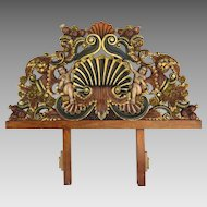 Vintage Hand-Carved Pine Headboard Mexico Conch Design Polychrome & Gilt Overdoor Transome