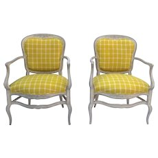 Pair of Vintage (1970's) French Painted Carved Bonne Femme Country Arm Chairs Pale Grey Paint