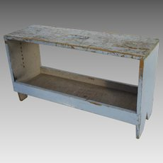 Vintage Small Blue Painted Bench