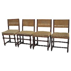 Set of Four 17th Century Italian Walnut Side Chairs