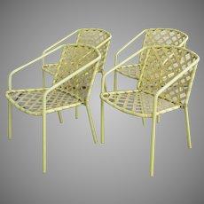 Four (4) Vintage Brown Jordan Yellow Strap Chairs