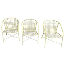 3 x Vintage Brown Jordan Strap Chairs Garden Patio