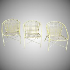 3 x Vintage Brown Jordan Strap Chairs Garden Patio