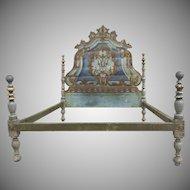 19th Century Painted Italian Rococco Headboard/Bed