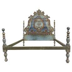 19th Century Painted Italian Rococo Headboard Bed