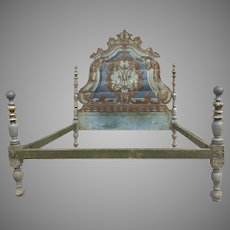 19th Century Painted Italian Rococo Headboard Bed