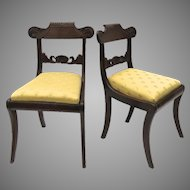 Pair of English Regency c 1830 Carved Side Chairs with Inlaid Brass