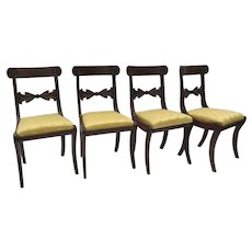 Set of 4 English Regency Side Chairs Carved