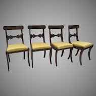 Set of Four (4) English Regency Side Chairs Carved