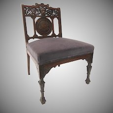 Slipper Chair Carved North Wind Eastlake