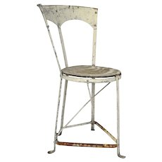 Adorable White Iron French Corner Bistro Chair