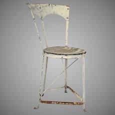Adorable White Iron French Corner Bistro Chair