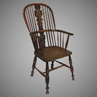 English 19th Century Yew Wood Windsor Chair Tall Back
