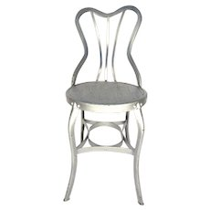 Vintage Metal Shaped Chair Silver Paint