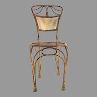 Hollywood Regency Italian Mid Century Gilt Rope and Tassel Detail Side Chair