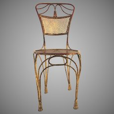 Hollywood Regency Italian Mid Century Gilt Rope and Tassel Detail Side Chair