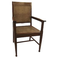 Vintage Teak Armchair Wicker Seat and Back