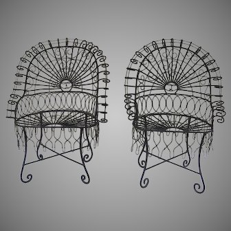 Pair of Large Wire Work 19th Century Garden Chairs