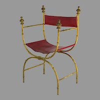 Hollywood Regency Sling X Frame Arm Chair with Wood Gilt Finials