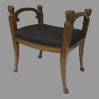 French 19th Carved Walnut Window Seat Stool Bench