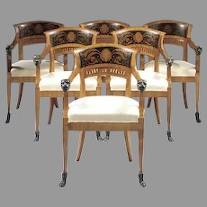 Set of Six (6) North Italian Cherrywood and Ebonised Armchairs with Lion Head