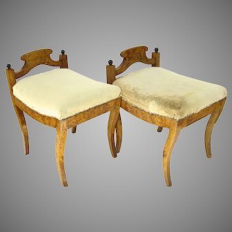 Pair of Biedermeier Swedish Low Back Stools Benches