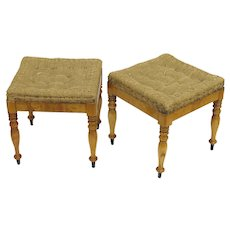 19th Century Pair of Biedermeier Stools Square