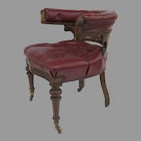 English Mid 19th Century Mahogany Upholstered Desk Tub Chair