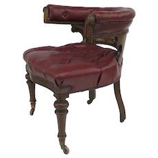 English Mid 19th Century Mahogany Upholstered Desk Tub Chair