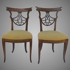 Pair of Early 19th Century Walnut Italian Side Chairs
