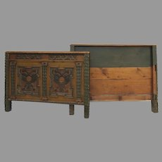 Early 19th Century European Painted Carved Headboard Footboard Bed Swiss German