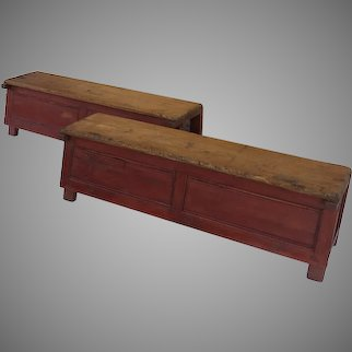 Pair of Country Rustic Benches Painted Red Brown Long L Shape