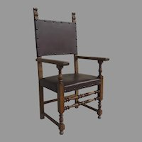 Italian 17th Style Arm Chair Walnut