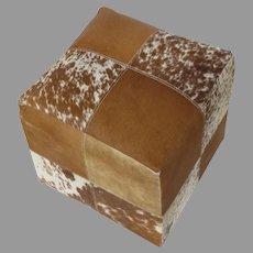 Vintage Hide Cube Stool Ottoman