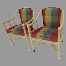 Pair Vintage Mid Century Modern McGuire San Francisco Bamboo Rattan Tub Club Chairs