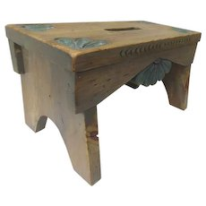 Hand Carved Stool by Spanish Colonial Foot Stool Charlie Esquibel