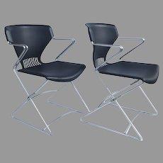 Pair 2 x HON - Olson Flex Stacker FLEX02 Stacking Chair With Arms Blue
